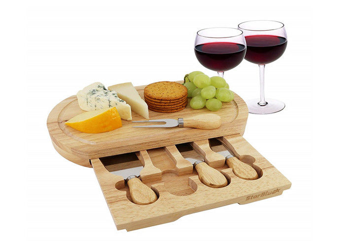 High Durability Bamboo Cheese Board Set 3.5CM Thickness With 4 Cheese Knives