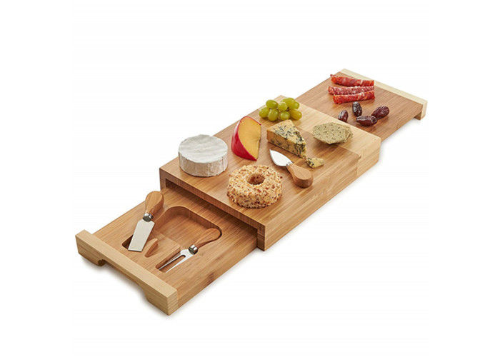 Non Toxic Bamboo Cheese Board Set Cutlery Set With With Drawer And Platter