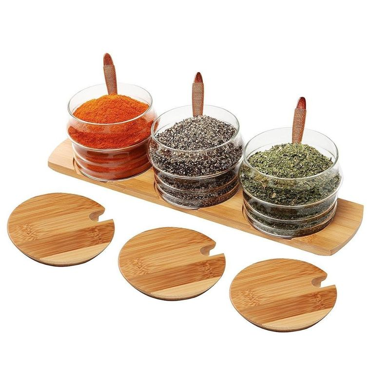 Multifunction Bamboo Wooden Sauce Holder , Restaurant Table Condiment Holders