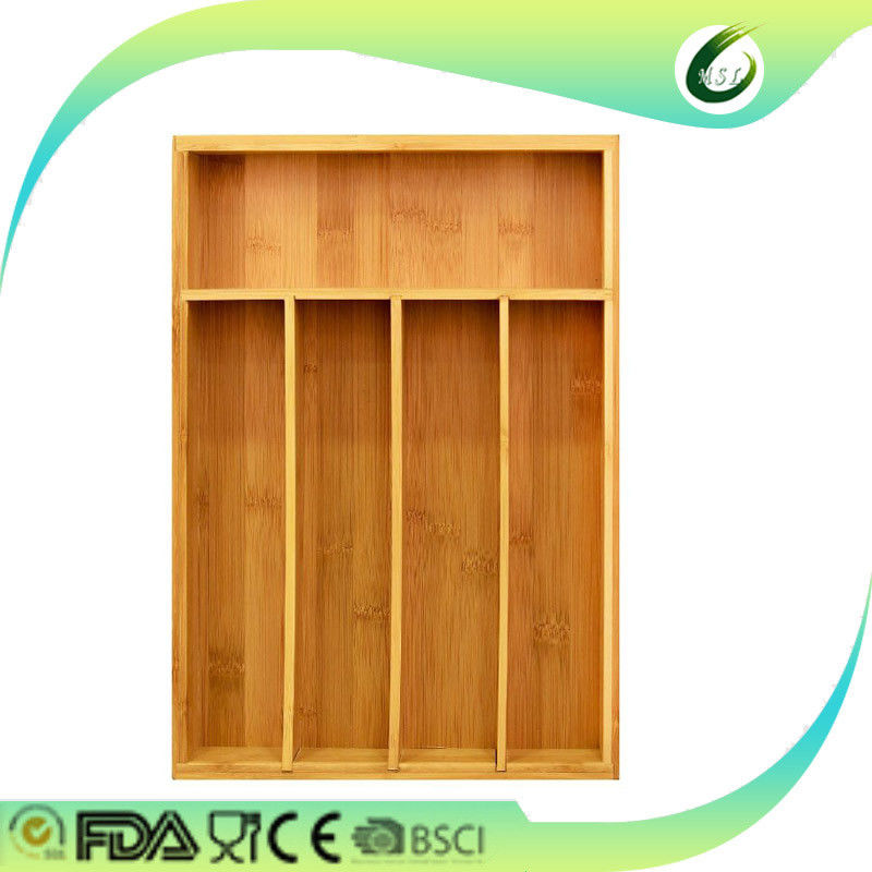 Durable Bamboo Drawer Organizer Expandable Natural Colour For Utensils Cutlery