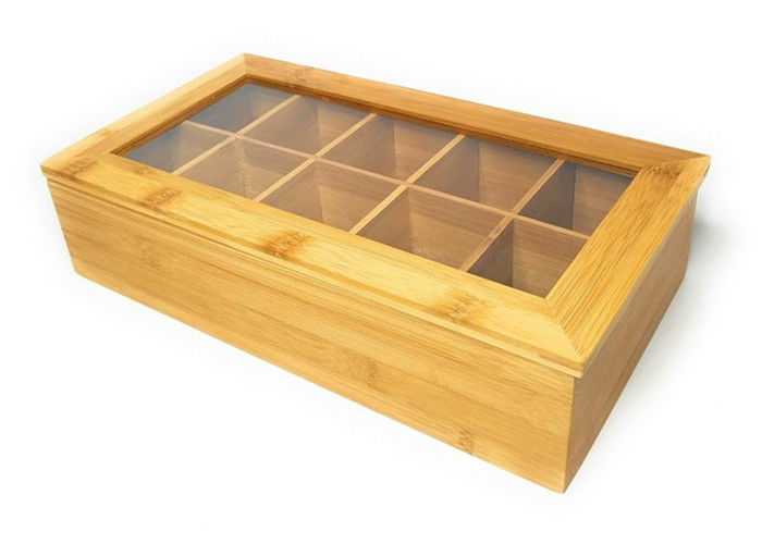 Small Bamboo Storage Organizer , Wooden Tea Box Adjustable Chest Compartments