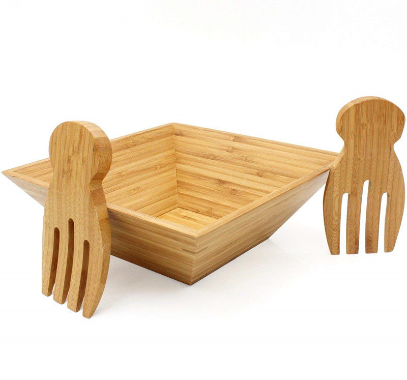 Recycled Bamboo Salad Set Best Smooth Surface For Serving Salad / Pasta / Soup