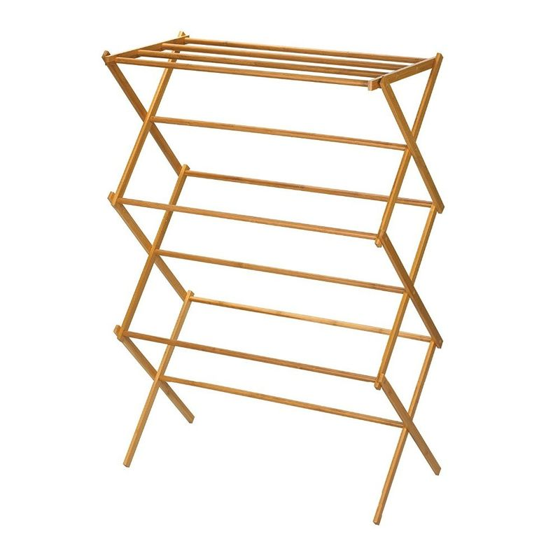 Portable Wooden Laundry Drying Rack , Bamboo Clothes Rack Earth Friendly